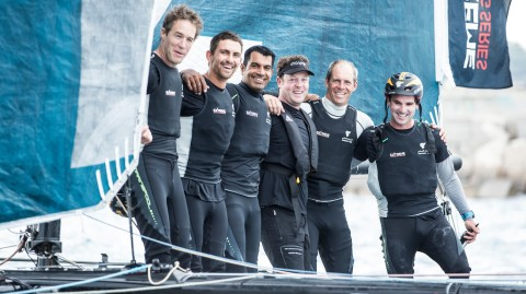 Barcelona glory for Oman Air but SAP Extreme Sailing Team go top at halfway stage