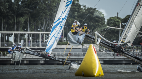 SAP Extreme Sailing Team on the march in Singapore