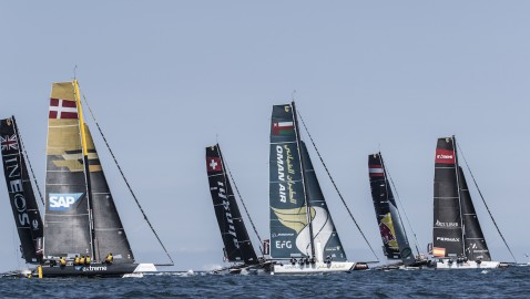 Contact on the course between top spot contenders on penultimate day of Extreme Sailing Series™ Act 3, Barcelona