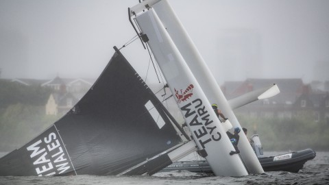 Dramatic double capsize on penultimate day of Extreme Sailing Series™ Cardiff